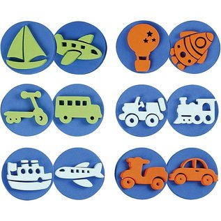 Kinder Bastelsets / Kids Craft Kits Stamp made of foam rubber: Transport, a total of 12 designs