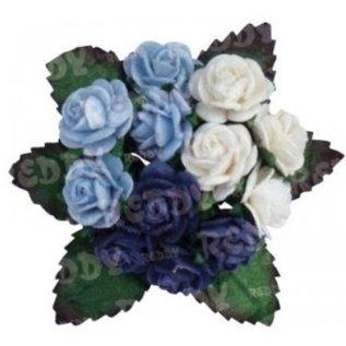 Embellishments / Verzierungen Mini-fleurons, h'blau, d'bleu, blanc