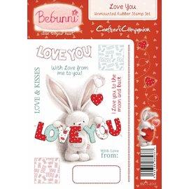 Crafters Company: BeBunni carimbo de borracha, BeBunni tópico: Eu te amo