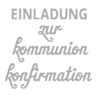 Spellbinders und Rayher Stanzschablone Set: Text Konfirmation/Kommunion