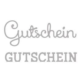 Spellbinders und Rayher Stanzschablone Set: Text Gutschein