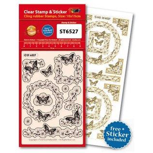 Stempel / Stamp: Transparent Transparent Stempel, Schmetterlinge+passend dazu einen Ziersticker