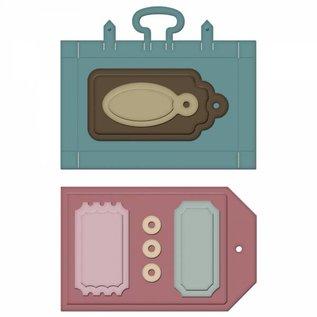 Spellbinders und Rayher Stanz- und Prägeschablone, Koffer und Labels