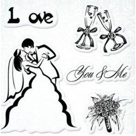 """Stempel / Stamp: Transparent Transparent stamps set, Wedding """"You & Me"""""""