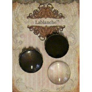Embellishments / Verzierungen 2 Glascabochons mit Rahmen