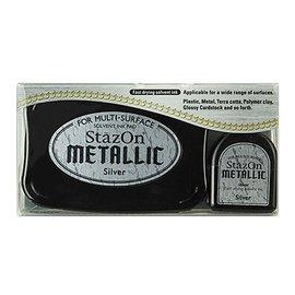 FARBE / STEMPELINK inchiostro timbro stazon, argento metallizzato
