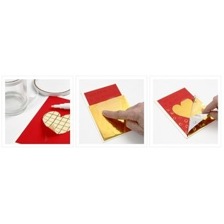 BASTELZUBEHÖR, WERKZEUG UND AUFBEWAHRUNG Transferfolie, Blatt 10x10 cm, 30 Blatt, gold