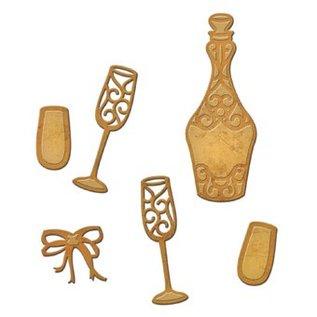 Spellbinders und Rayher Stempelen en embossing stencil, Spellbinders, Bottle + 2 glazen