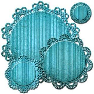 Spellbinders und Rayher Stempling og prægning stencil, Spellbinders, blonder dekorative ramme omkring
