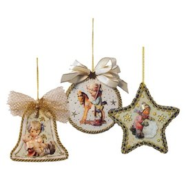 Embellishments / Verzierungen 3 vitres en acrylique, forme: cloche, rond et étoile