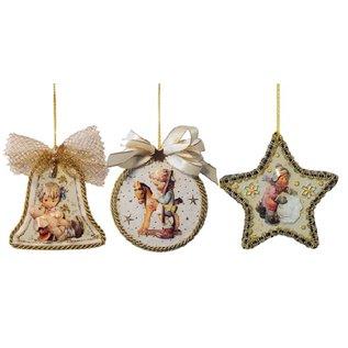 Embellishments / Verzierungen 3 akryl glasruder, form: klokke, runde og stjerne