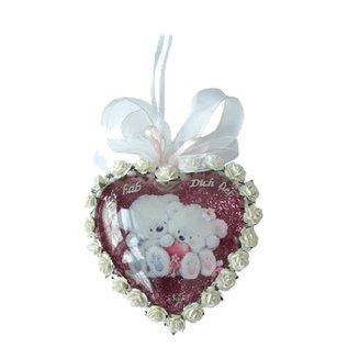 Embellishments / Verzierungen 2 akryl glas medaljoner, hjerte 8cm, 2 dele