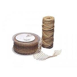 Embellishments / Verzierungen Jute mesh band, natuur, 50 mm, verkocht door de meter