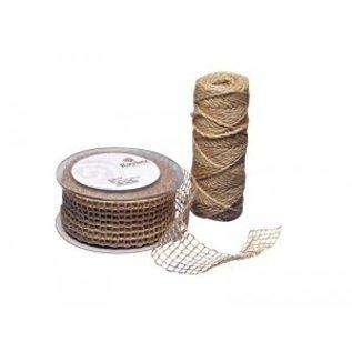 Embellishments / Verzierungen Jute mesh bælte, natur, 50 mm, der sælges i metermål