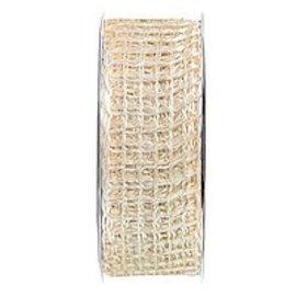 Embellishments / Verzierungen Banda di rete iuta, banda di rete, larghezza 70 mm, crema, venduto al metro