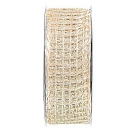 Embellishments / Verzierungen Juta malha banda, banda de rede, largura de 70 mm, creme, vendidos a metro