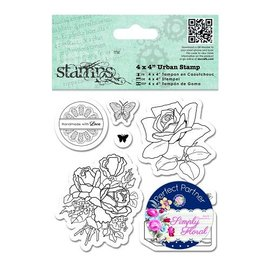 Docrafts / Papermania / Urban Sello de goma, rosas, mariposas y Etiqueta