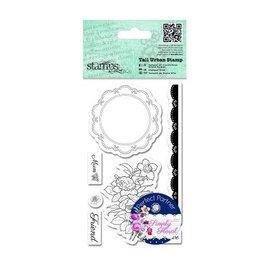 Docrafts / Papermania / Urban Les timbres en caoutchouc, des roses, étiquette dentelle napperon et de la frontière