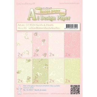DESIGNER BLÖCKE / DESIGNER PAPER Designer papir, Swirls & Hearts pink / grøn