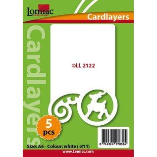 KARTEN und Zubehör / Cards Karten Layouts, 5 Stück, mit Rentier