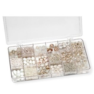 Schmuck Gestalten / Jewellery art Assortment 21 x 10.5 x 2.4 cm, glass beads, white