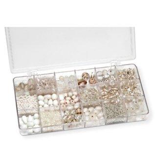 Schmuck Gestalten / Jewellery art Sortimentsbox 21 x 10,5 x 2,4 cm, Glasperlen, weiß