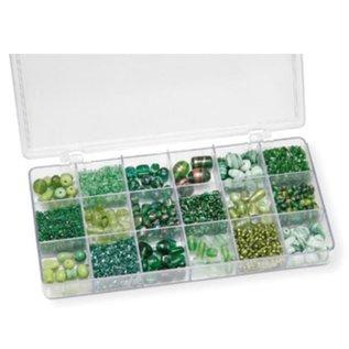Schmuck Gestalten / Jewellery art Sortimentsbox 21 x 10,5 x 2,4 cm mit Glasperlen, grün