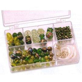 Schmuck Gestalten / Jewellery art Schmuckbox glass beads assortment green