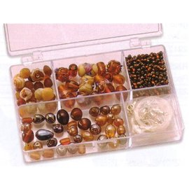 Schmuck Gestalten / Jewellery art Schmuckbox contas de vidro variedade marrom