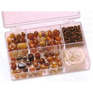 Schmuck Gestalten / Jewellery art Schmuckbox glazen kralen assortiment bruin