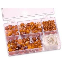 Schmuck Gestalten / Jewellery art Contas de vidro Schmuckbox laranja sortimento