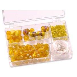 Schmuck Gestalten / Jewellery art Schmuckbox glass beads assortment yellow