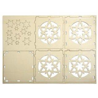Objekten zum Dekorieren / objects for decorating Wooden Bastelset fyrfadslys holder, med stjerne motiv, 9,5x9,5x10cm, med 15 stjerner