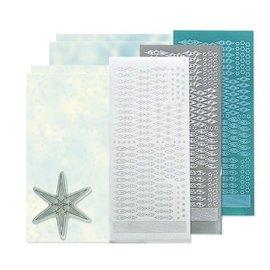 Sticker Bastelset: Star sticker stempel set, silber, weiß und blau