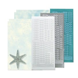 Sticker Bastelset: Star sticker stempel set, zilver, wit en blauw