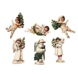 Embellishments / Verzierungen 24 Angel, af træ, 6 forskellige