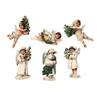 Embellishments / Verzierungen 24 Angel, van hout, 6 verschillende