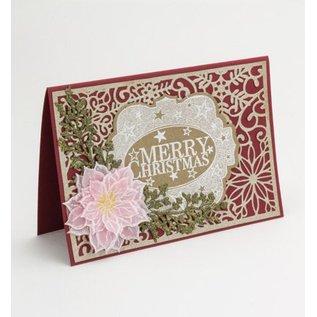 CREATIVE EXPRESSIONS und COUTURE CREATIONS Skæring og prægning stencils, julemotiver: dekorativ ramme med snefnug