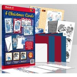 Bastelset: für 4 Weihnachtskarten