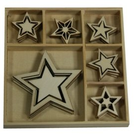 Objekten zum Dekorieren / objects for decorating Wood Ornament Box, Star 30 parts