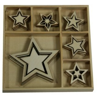 Objekten zum Dekorieren / objects for decorating Holzornament Box, Sterne 30 Teile