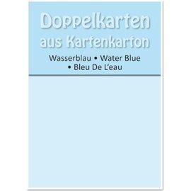 KARTEN und Zubehör / Cards 5 dubbele kaarten A6, water blauw, 250 g / m²
