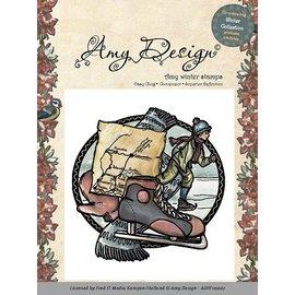 AMY DESIGN Rubber zegel, Amy Design - Cling Stamp - Schaatsen jongen