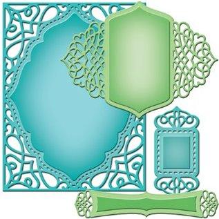 Spellbinders und Rayher Skæring og prægning stencils, 4 dekorative ramme