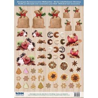 Embellishments / Verzierungen Die cut ark med Weihnachtsgebaeck, bagte æbler fra 250 g karton, A4