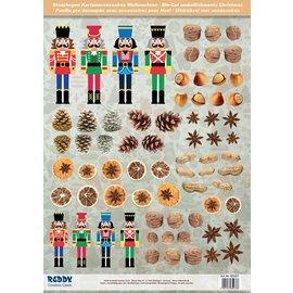 Embellishments / Verzierungen Die cut ark med nøddeknækkere, tørret frugt fra 250 g karton, A4