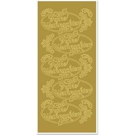 Sticker Adesivos, Feliz Natal, ouro