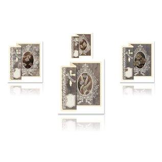 BASTELSETS / CRAFT KITS Sammenklappelige medfølelse til 4 kort + kuverter