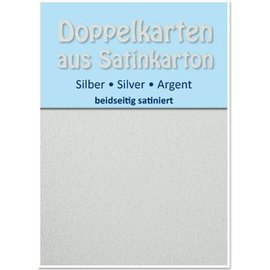KARTEN und Zubehör / Cards 10 Satin cartes doubles A6, l'argent, satiné sur les deux côtés