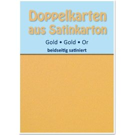 KARTEN und Zubehör / Cards 10 cetim cartões de duplas A6, ouro, cetim em ambos os lados